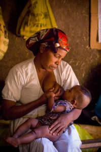 An Ethiopia mother nurses her son. (Jon Warren/WV)