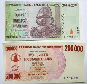 Top, today's Zimbabwean bill. Below, from 2007.