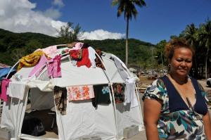 Pamela Luaao with her FEMA tent. (Laura Reinhardt/WV)