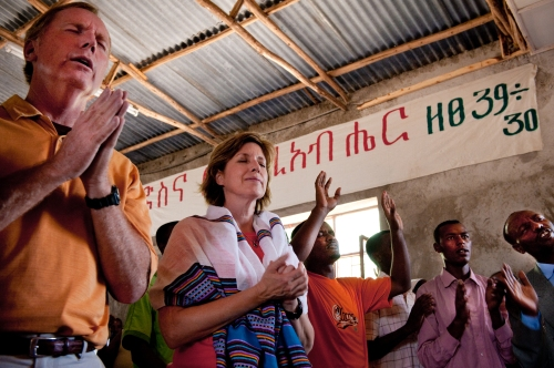 The Lucados worship at a church in Adama, Ethiopia. (Jon Warren/WV)