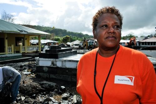 Phyllis Freeman, World Vision's director of disaster response in the U.S., surveys the damage. (Laura Reinhardt/WV)